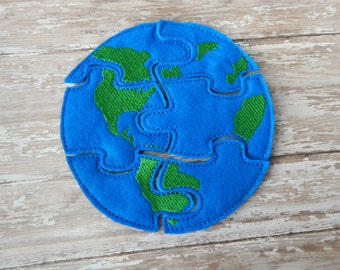 World Earth Day - Earth Day - World Felt Puzzle - Earth Day Activities for Kids - Educational toys - Learning toys - Traveling toys for kids