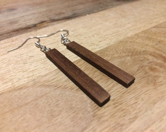 Hand made women's dangle wooden earrings in reclaimed teak with silver plated fish hooks