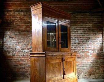 Stunning French Cabinet Cupboard Dresser Antique Elm Napoleon III Circa 1850