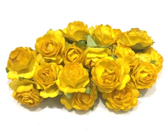 Deep Yellow Open Mulberry Paper Roses Or061