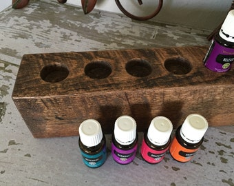 RECLAIMED RoUGH SAWN WoOD-Essential Oils Holder-USA Made-dk rich finish-holds 7