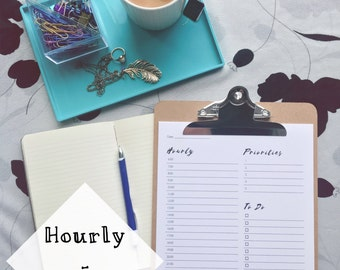 Minimalist Daily Planner Printable - Hourly - Priorities - To Do List - Brush