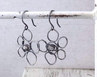 Sterling Silver Flower Earrings - Herkimer Diamond Earrings - Floral Earrings - Modern Flower Earrings - Rustic Flower Earrings