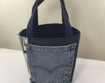Project Bag, Bucket style, Navy Geometric Pattern, from Upcycled jeans & Upholstery fabric samples