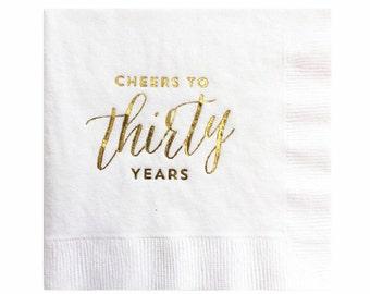 30e anniversaire décoration - Set de serviettes de table - Cheers à trente ans - feuille d'or de 20
