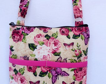Roses with Butterfly  Crossbody Bag // Sling Bag // Cross body Purse // Rose // Butterfly