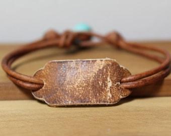 Distressed leather bracelet, Womens leather bracelet, Turquoise howlite bracelet, Womens jewelry, Casual jewelry, Womans leather bracelet