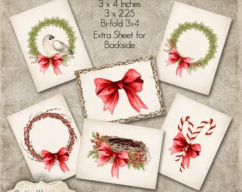 Printable - Christmas Gift Tags - Wreaths, Birds Nest, Twig & Berry Wreath, Watercolor - Three Sizes - INSTANT DOWNLOAD - 4.00
