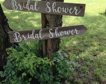 Two Rustic Wood Wedding Sign on Stake Bridal Shower Directional Arrow Cursive Script