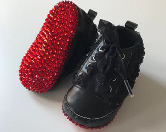 Black Red Sole Baby Rose Trainers, Baby Pram Shoes - Diamanties, bling - Like Mummy's Louboutins but Designer Inspired!