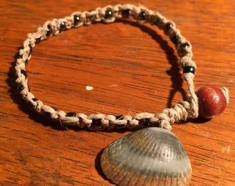 Beige and Blue Seashell hemp bracelet anklet