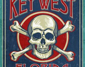 Key West, Florida - Skull & Crossbones - Lantern Press Artwork (Art Print - Multiple Sizes Available)