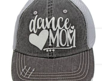 Dance Mom White Grey Distressed Hat