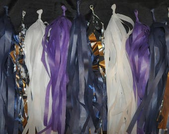 Purple, Midnight Blue, White, and Silver Tassel Garland | Wedding Decorations | Celestial Party