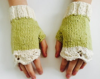 Organic Cotton Lace Fingerless Gloves, Green and Cream