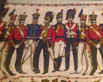 Vintage Military Themed Fabric, Hussars Themed Fabric , Vintage Military Themed Wall Hanging