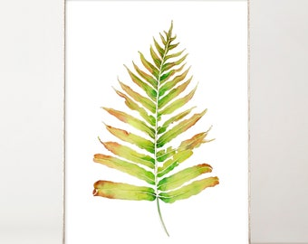 Watercolor Wall Art Botanical Print Green Fern Leaf Boho Wall Decor Watercolor Print Tropical Leaves Plant Print Best Selling Items