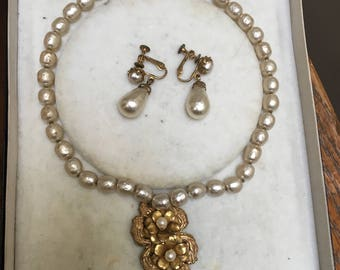 Miriam Haskell Necklace and Earrings in Original Box
