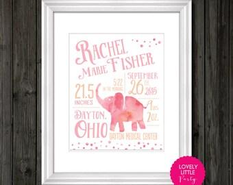 "Watercolor Elephant Theme Nursery Print, baby gift, nursery decor- Customized - 8""x10"" - LOVELY LITTLE PARTY"