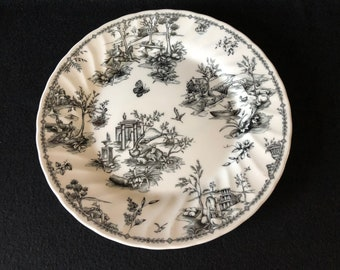 Churchill Black Toile Scalloped/Charcoal Dinner Plate (Made in England)