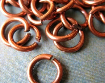 7.5mm 16 gauge Antiqued Pure Copper Jump Rings