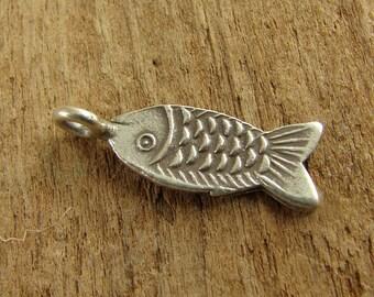 Hill Tribe Fine Silver Fish Charm - Thai Silver Charm - Fine Silver Charm - BCH8