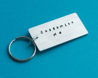 LARGE customised Keyring, Custom Keyring, Personalised Keyring, Hand Stamped Keyring, Custom Keychain, Personalized Keychain, Keyring Gift