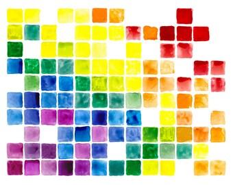 "16x20"" Rainbow Art Abstract Watercolor Fine Art Poster Print [Watercolor Rainbow Print Rainbow Art Abstract Watercolor Rainbow Watercolor]"