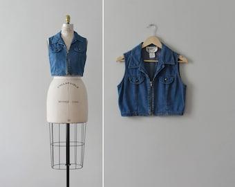 denim crop top / vintage sleeveless blue jean blouse / S - M
