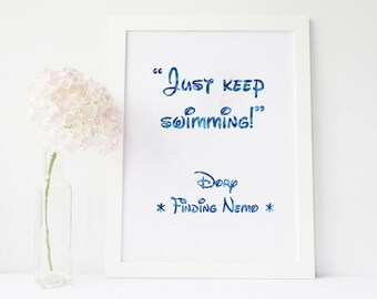 Just keep swimming, just keep swimming decal, just keep swimming sign, just keep swimming wall decal, just keep swimming print, nemo decal
