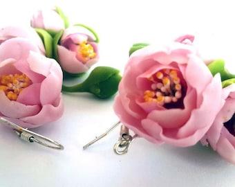 Handmade Earrings. Fashion Flower Floral Earrings. Women Accessories. Cold porcelain.