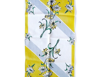 Vintage Linen Kitchen Towel with Daisy Flowers in Yellow, Green  and Gray / 1950s Tea Towel Excellent Condition Unused