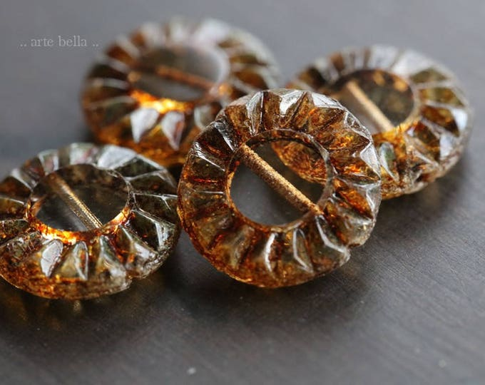 EARTHY SUNFLOWERS .. 4 Picasso Czech Glass Coin Beads 14mm (6044-4)