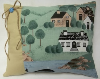 Nautical Shore Scene Accent Pillow, Buildings, Whale, Trees, Outdoor