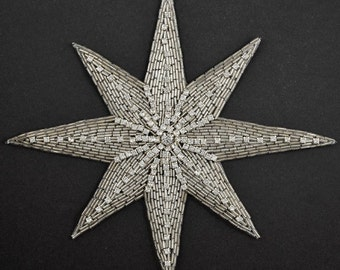 "Star Rhinestone Beaded Applique Patch, Bridal Applique, 8-3/4"" x 7-3/4'', FF-347"