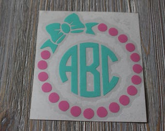 Bow  Monogram Car Decal - Monogram Bow Car Decal - Circle Bow Monogram Decal - Monogram Car Decal - Car Decal - Bow Monogram - Decal - Bow