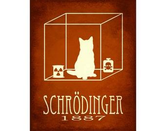 8x10 Schrodinger Sciece Art Print - Schrodinger's Cat Quantum Mechanics, Steampunk Rock Star Scientist Physics Poster, Geek Decor. Cat Art