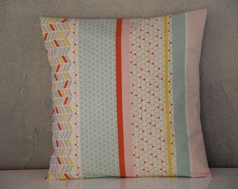 Cushion - 40 x 40 cm - printed fabrics way patchwork - multicolors pastel tones