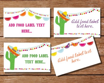 Mexican Fiesta Tent Cards, Food Labels, Buffet Cards, Food Tags, Labels - Instantly Downloadable File