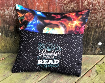 Galaxy Book Pillow - Book Pocket Pillow - Outer Space - Personalized  - Christmas Gift - Reading Gift - Gift for Kids - Gift for Teens