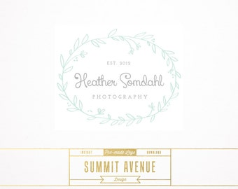 DIY INSTANT DOWNLOAD - Floral Wreath Premade Logo Design for Photography or Boutique by Summit Avenue