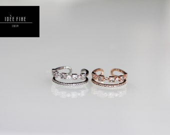 Gold Square Crystal Double Layer Expandable Ring