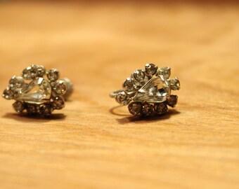 Vintage CZ Pear Shaped Screw Back Earrings, item #105