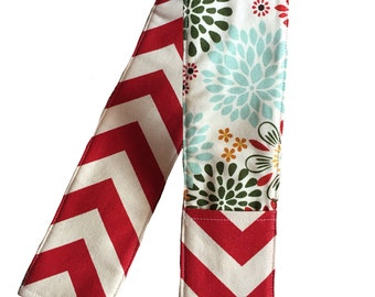 NEW Red Chevron and multi colored flowers camera strap