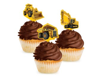 Construction Cupcake Toppers - Construction Party - Construction Baby Shower - Under Construction - Digger Birthday - Construction Birthday