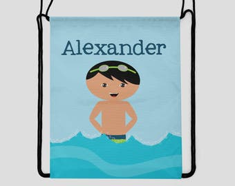 Swimming Drawstring Backpack - Boy with Goggles - You Choose Hair & Skin Color - Personalized Bag - Sports Bag - Beach Bag - Pool Bag