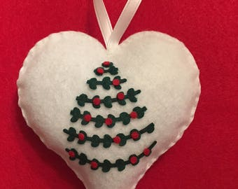 White Felt Christmas Ornament with Green Tree and Red Ornaments