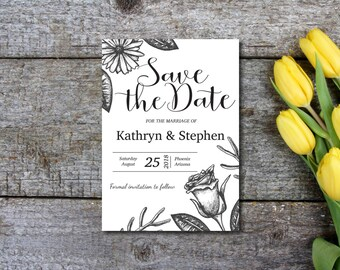 Save The Date Invitation, Party Invitation, Rustic, Kraft Invitation, Flower, Template, DIY EDITABLE PDF, Printable Instant Download E92A