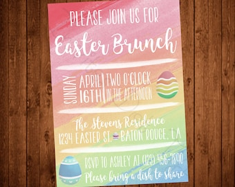 Easter Brunch Watercolor Printable Party Invitation