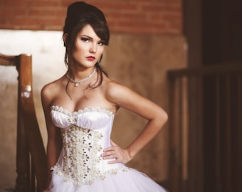 Custom Wedding Dress Crystal Corset Evening Gown